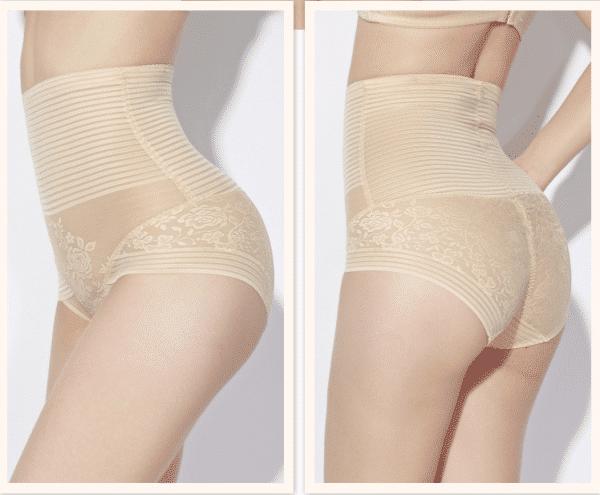 culotte taille haute dentelle beige