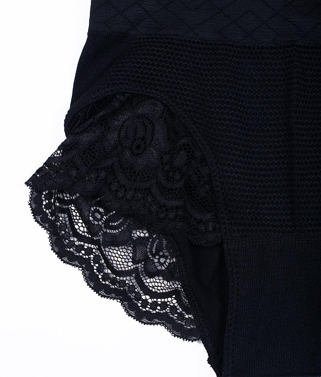 Culotte Taille Haute Dentelle Noire Packshot Detail 2
