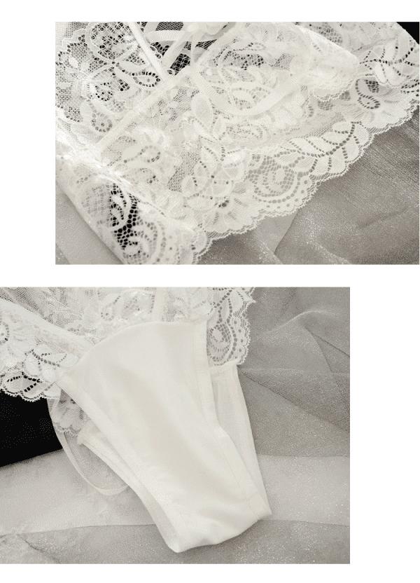 string gainant sexy dentelle blanc