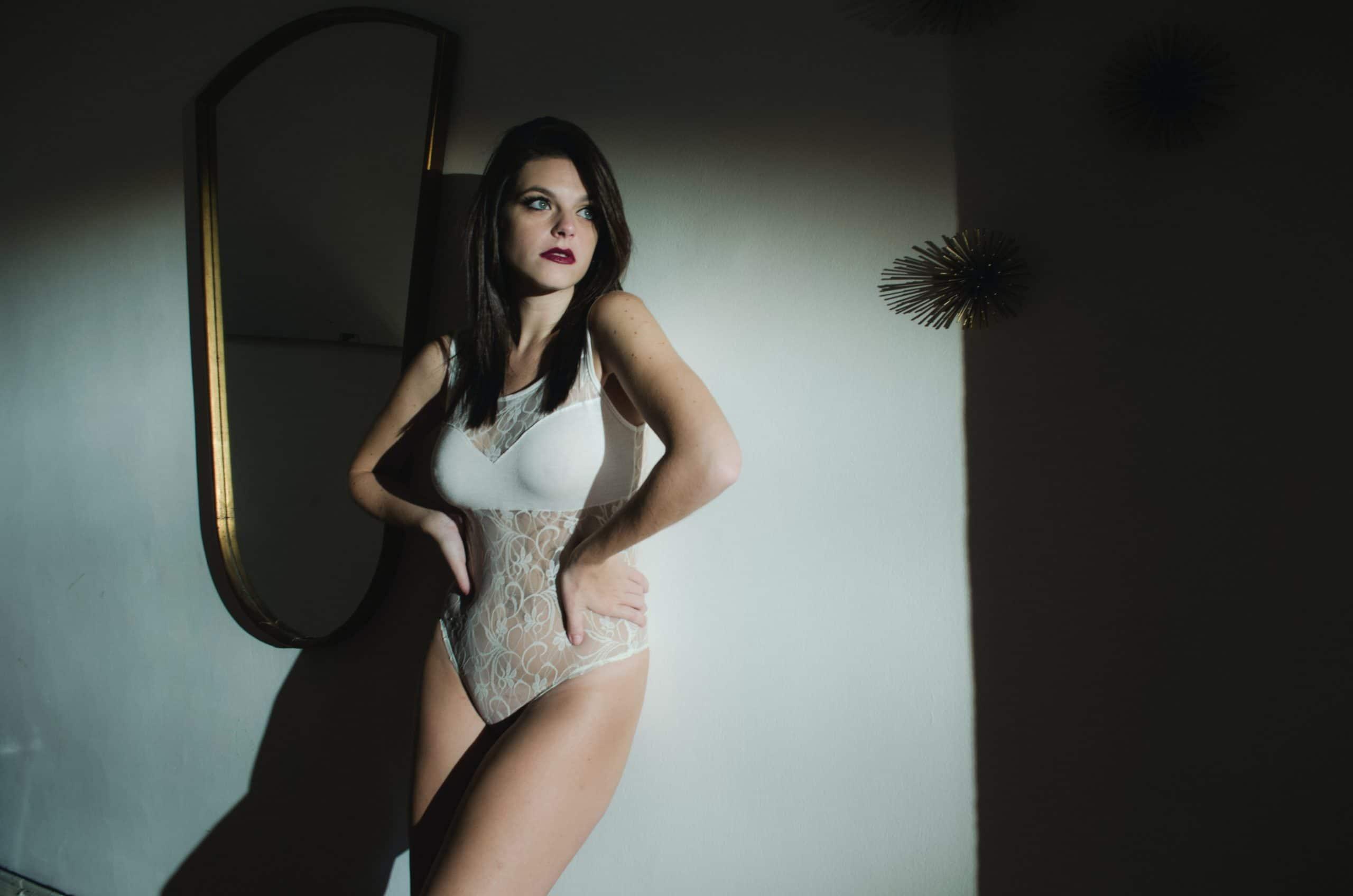 Femme en Body String gainant blanc